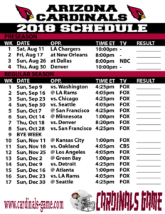 arizona cardinals schedule